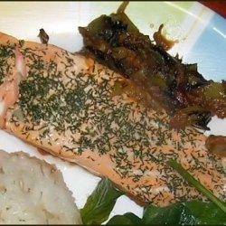 Braised Salmon With Leeks & Dill