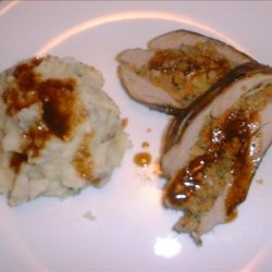 Pork Tenderloin with Mushroom Stuffing & Pan-seared Onion & Appl recipe