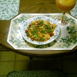Redfish With Shrimp Topping and Mexican Blend Cheese over Rice recipe
