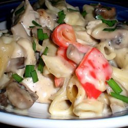Creamy Olive Chicken Bake With Red Peppers and Mushrooms