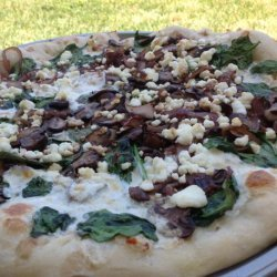 Spinach, Mushroom, Red Onion and Goat Cheese Pizza