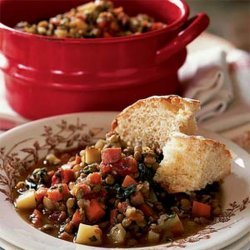 Lentil Stew with Ham and Greens