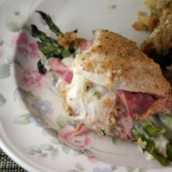 Asparagus-Stuffed Chicken Cordon Bleu With a Creamy Wine Sauce
