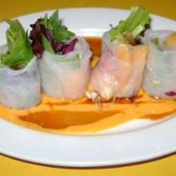 Lobster and Avocado Summer Roll with Mango Coulis