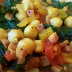 Sautéed Chickpeas With Ham and Kale recipe