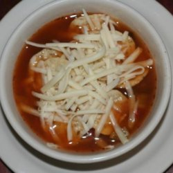 Chicken Salsa Soup With Tostitos and Mozzarella Cheese!