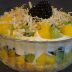 Kiwi, Berries and Yogurt Parfait With Toasted Coconut
