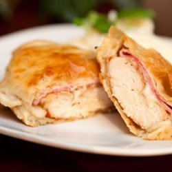 Chicken, Ham and Swiss Cheese Baked in Puff Pastry