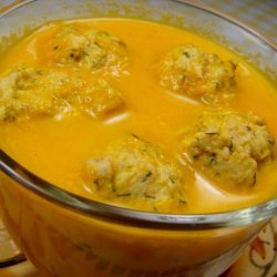Carrot Soup With Bacon and Dill Dumplings