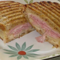 Grilled Ham and Cheese Sandwich With Fresh Pears