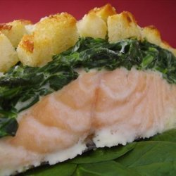 Baked Salmon With Mascarpone Spinach