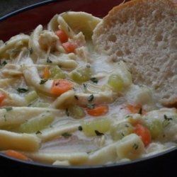 Chicken Noodle Soup over Mashed Potatoes