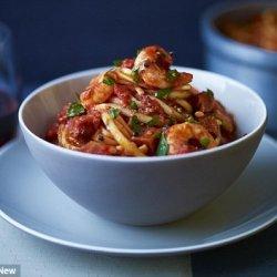 Sweet potato gnocchi with tomato and prawn sauce