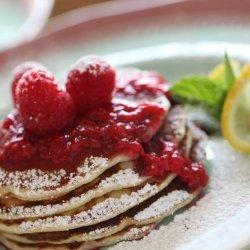 Lemon & Ricotta Pancakes With Raspberry Sauce
