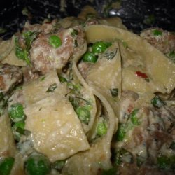 Tagliatelle With Smashed Peas, Sausage, and Ricotta Cheese-Giada