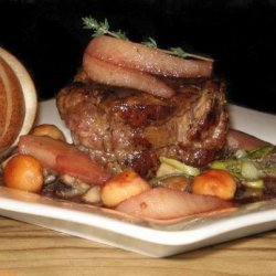 Pear and Red Wine Glazed Kangaroo Fillet (Or Beef) With Macadami