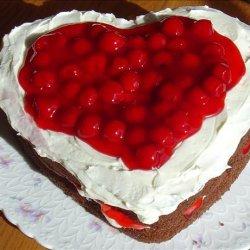 Heart Shaped Chocolate & Cherries & Cream Cake