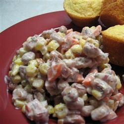 Spicy Creamy Cajun Ham and Black Eyed Peas Salad recipe
