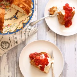 Strawberry-Rhubarb Angel Food Cake