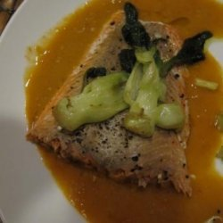 Roast Salmon With Thai Red Curry and Bok Choy