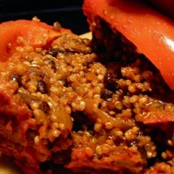 Black Bean, Mushroom & Quinoa Stuffed Bell Peppers