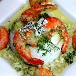Smoked Shrimp With Poblano-Tomatillo Sauce recipe