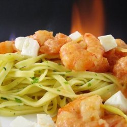 Tagliatelle With a Simple Sweet Tomato Sauce and Shrimps