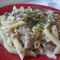 Penne Pasta With Mushroom Clam Sauce and Cheeses