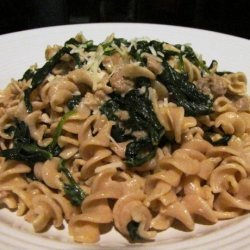 Whole Wheat Rotini With Spicy Turkey Sausage and Mustard Greens