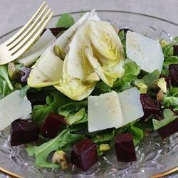 Tricolore Salad of Endive, Beet, and Arugula, Pantzaria Salata recipe