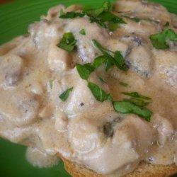 Creamed Oysters & Mushrooms on Toast