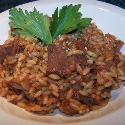 Steak and Orzo in Tomato-Oregano Sauce