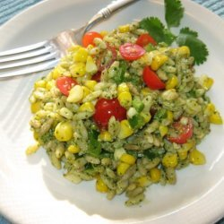 Roasted Corn & Orzo Salad With Cilantro Pesto