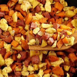 Sweet Potatoes With Ham and Apples