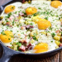 Eggs Baked in Corned Beef Hash