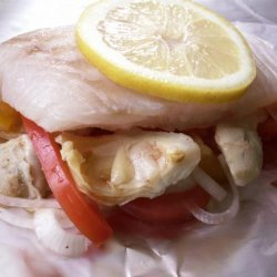 Grilled Halibut With Peppers and Artichokes