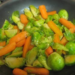 Baby Carrots And Brussels Sprouts Glazed With Brown Sugar and Pepper recipe