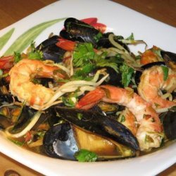 Asian Stir-Fried Mussels and Prawns