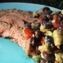 Chipotle Flank Steak With Black Bean-Avocado Salsa