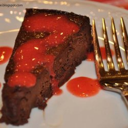 Chocolate Truffle Cake With Strawberry Sauce