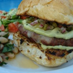 Grilled Turkey Burgers Wtih Monterey Jack, Poblano Pickle Relish
