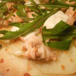Salmon, Potato and Caper Pizzas recipe