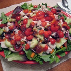 Tossed Green Salad W. Chicken and Raspberry Chipotle Vinaigrette