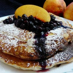 Tasty Nectarine Buttermilk Pancakes & Wild Blueberry Sauce