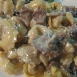 Tortellini in mushroom sauce