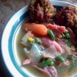Turkey Soup with Dressing Dumplings recipe