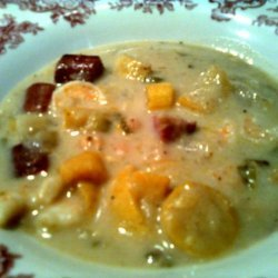 Squash Soup With Turkey and Shrimp