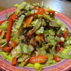 Wine Braised Leeks With Red Pepper & Shiitakes