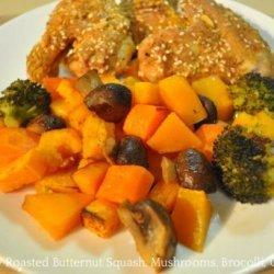 Lemony Roasted Butternut Squash, Mushrooms, Broccoli, Carrots