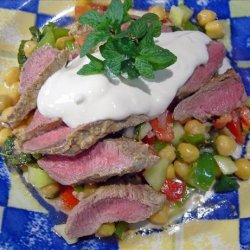 Mediterranean Lamb on Chickpea and Tomato Salad